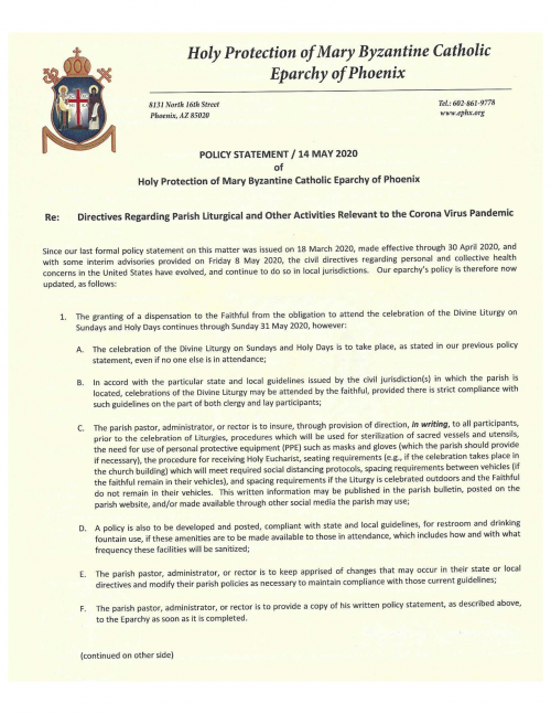 14 May 2020 Eparchy of Phoenix POLICY STATEMENT - DIRECTIVE GUIDELINES for Covid-19-pg1
