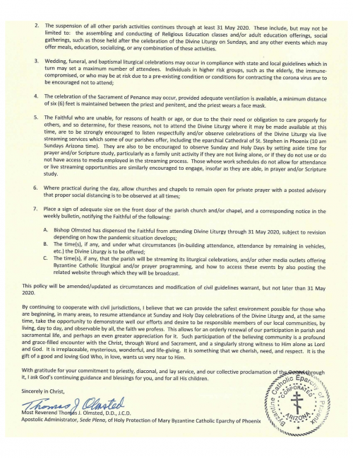 14 May 2020 Eparchy of Phoenix POLICY STATEMENT - DIRECTIVE GUIDELINES for Covid-19-pg2